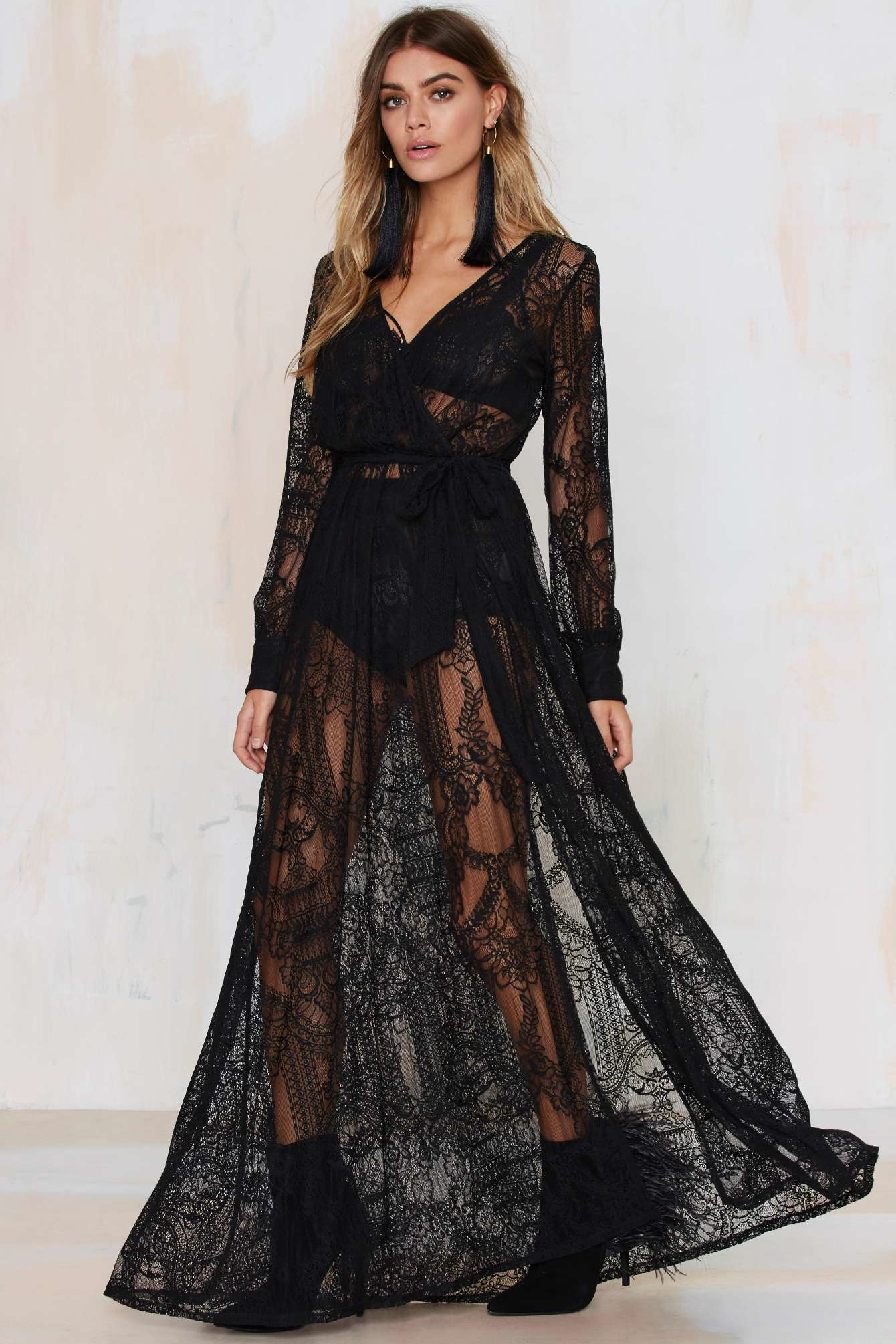 Nasty gal One And Only Lace Maxi Dress - Black in Black | Lyst