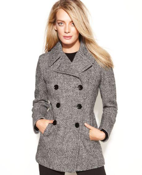 Calvin Klein Petite Wool-Blend Peacoat in Black (Black ...