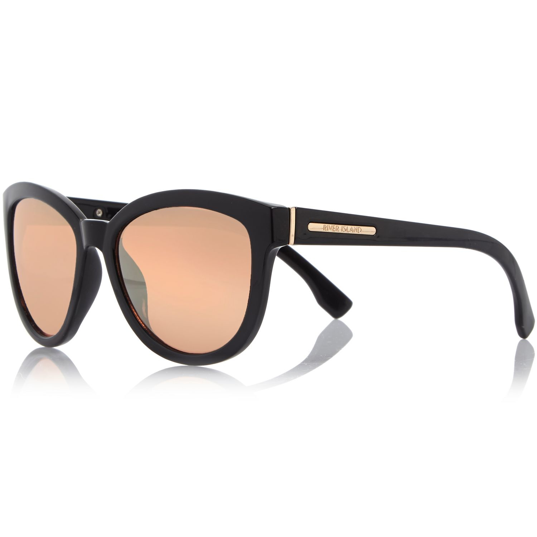 Lyst river island black cat eye mirror lens sunglasses for Mirror sunglasses