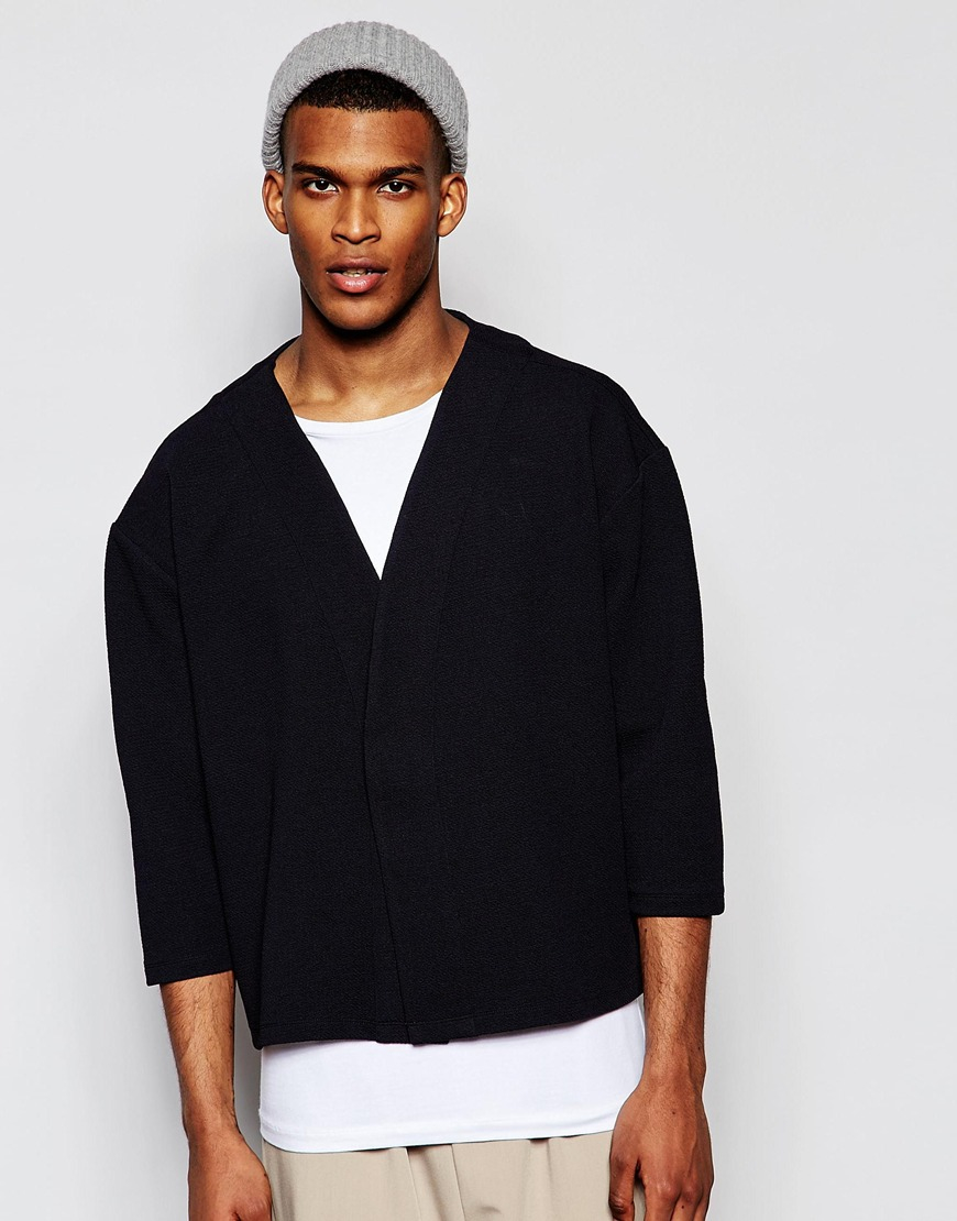 Asos Crepe Jersey Kimono Cardigan In Navy in Blue for Men | Lyst