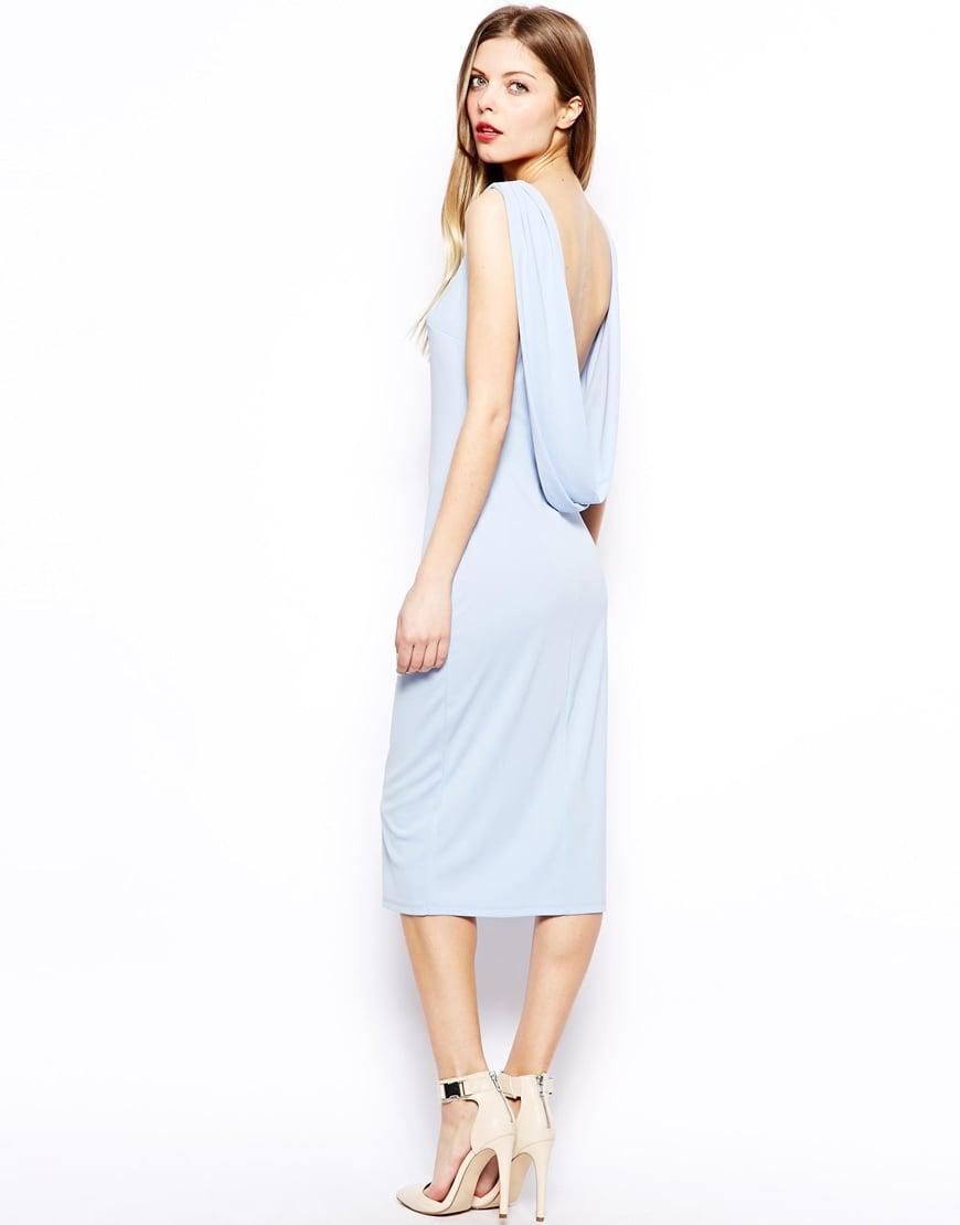 Asos Drape Back Midi Dress In Blue Lyst