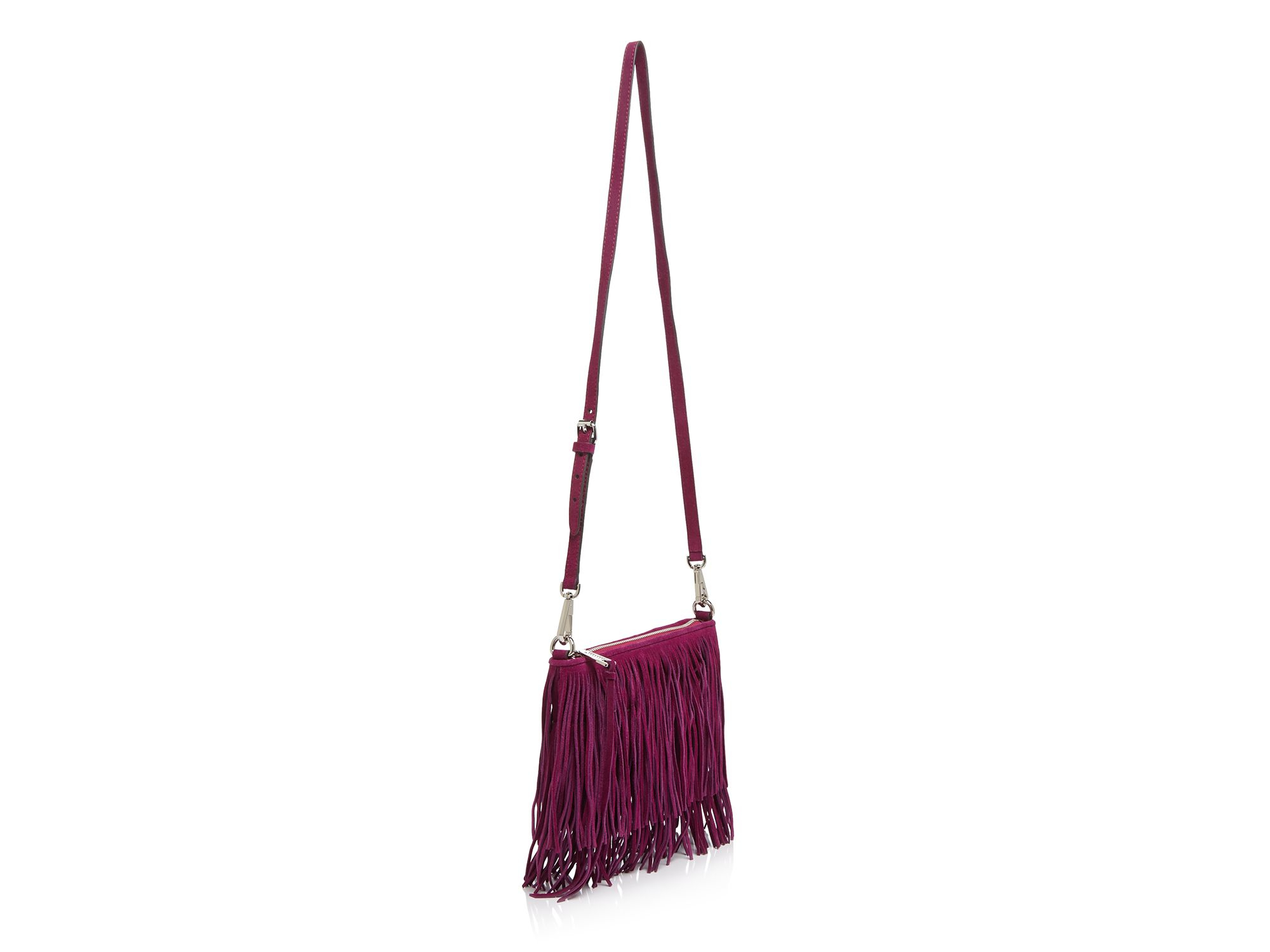 Rebecca Minkoff Finn Suede Fringe Convertible Crossbody in Red