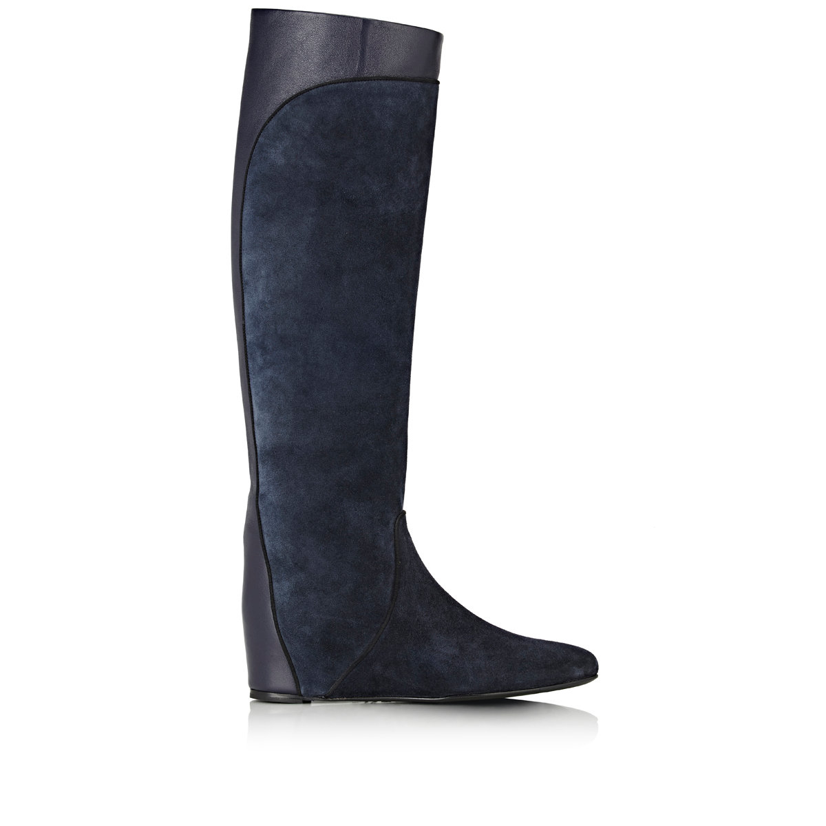 lanvin suede wedge knee high boots in blue lyst
