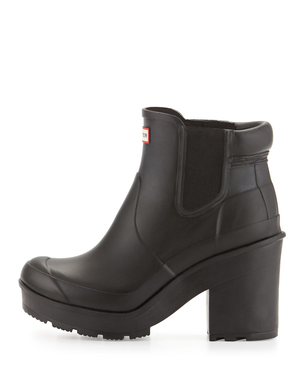 Hunter Original Chelsea Block Heel Rain Boot In Black Lyst