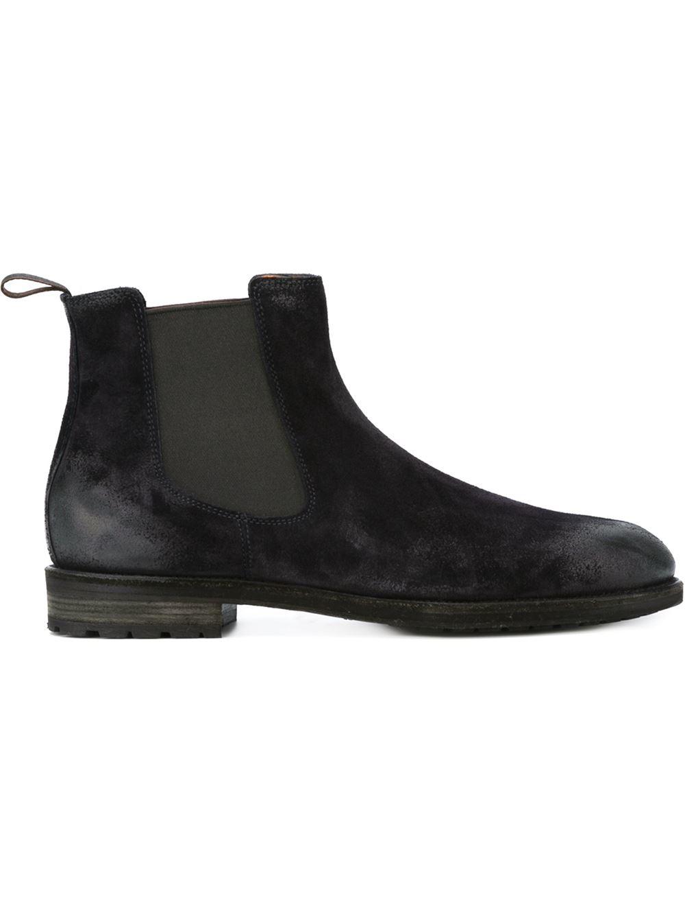 santoni worn out effect chelsea boots in blue for men lyst. Black Bedroom Furniture Sets. Home Design Ideas
