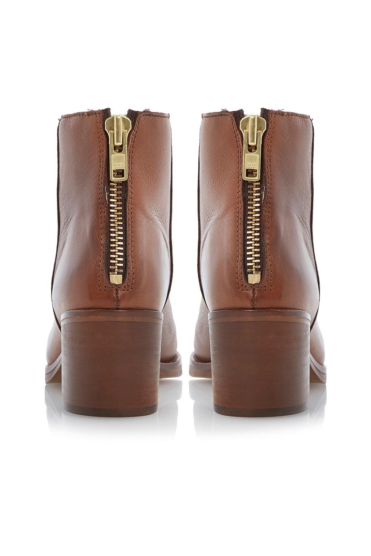 Packer Back Zip Block Heel Ankle Boots By Dune