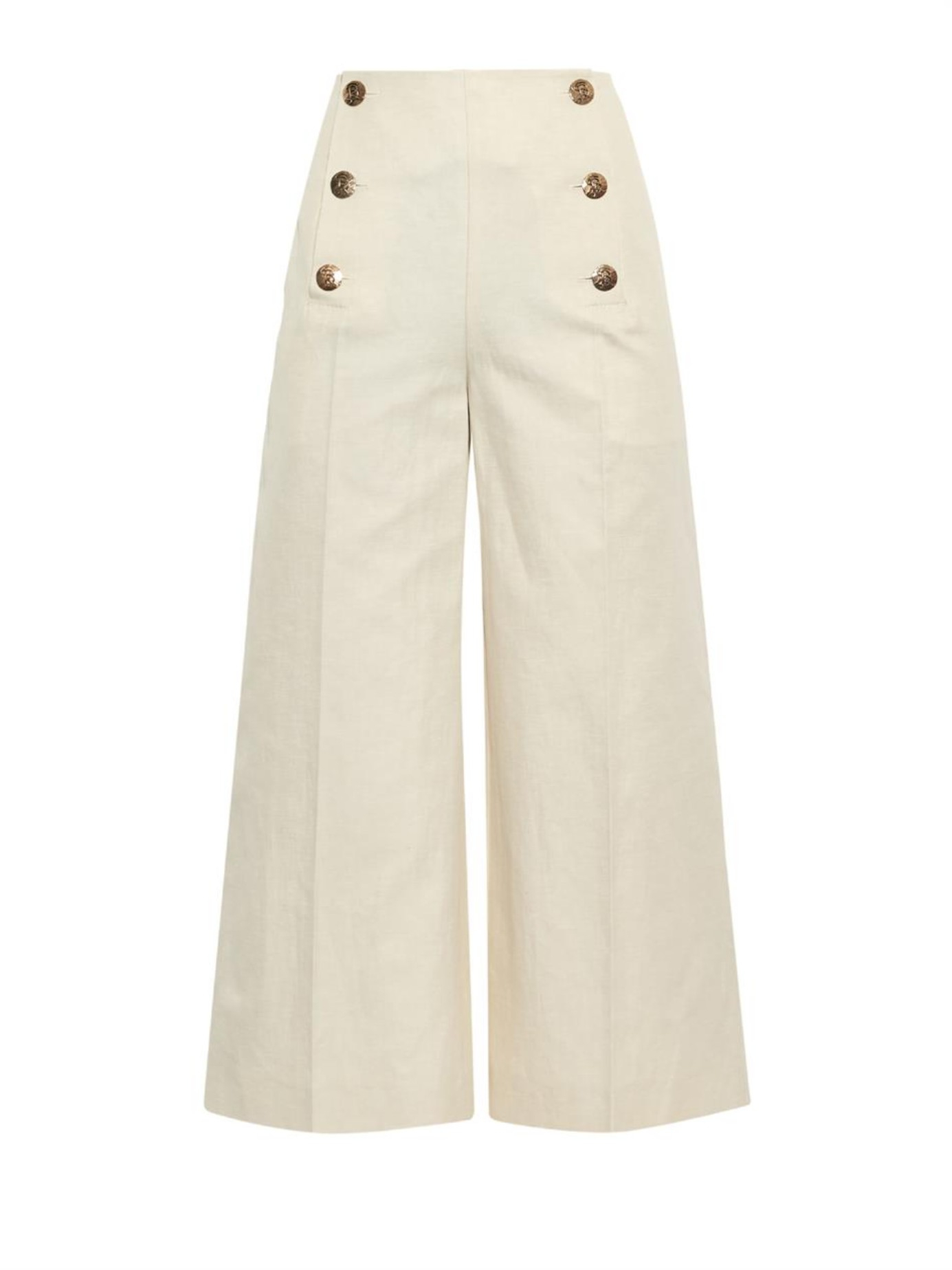 Sonia rykiel Button-Detail Cropped Wide-Leg Trousers in ...
