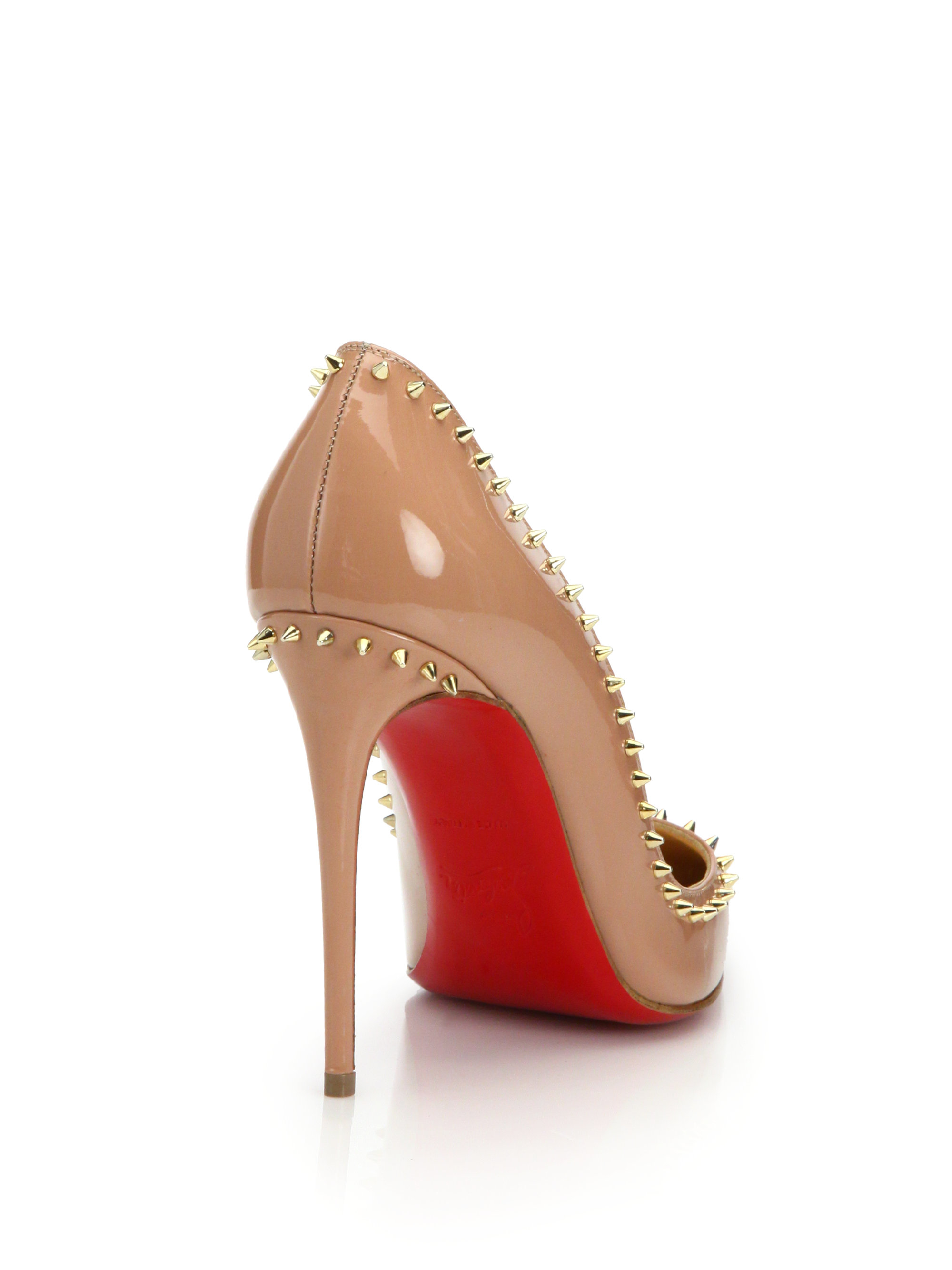 replica shoes for men - Christian louboutin Anjalina Spiked Patent Leather Pumps in Beige ...