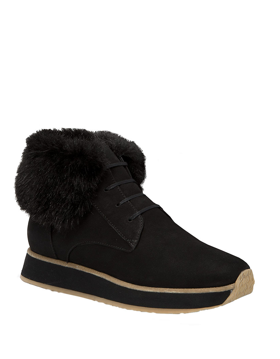 aquatalia jaboba faux fur trimmed leather ankle boots in