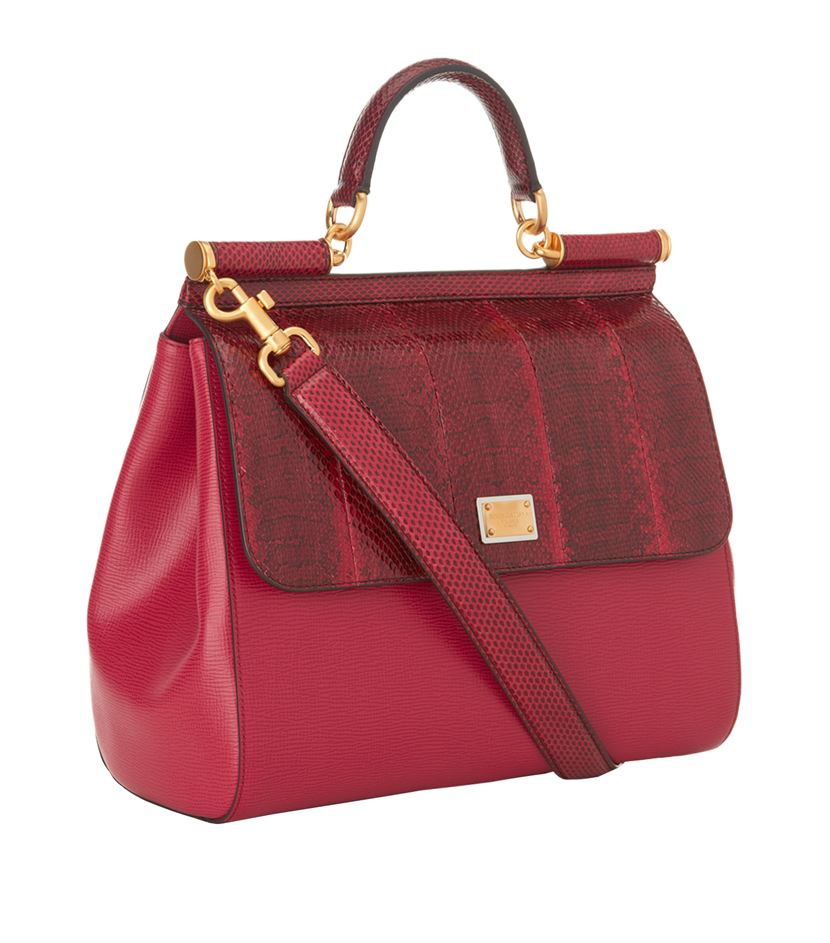 Dolce & Gabbana Large Sicily Snake Trim Tote in Red