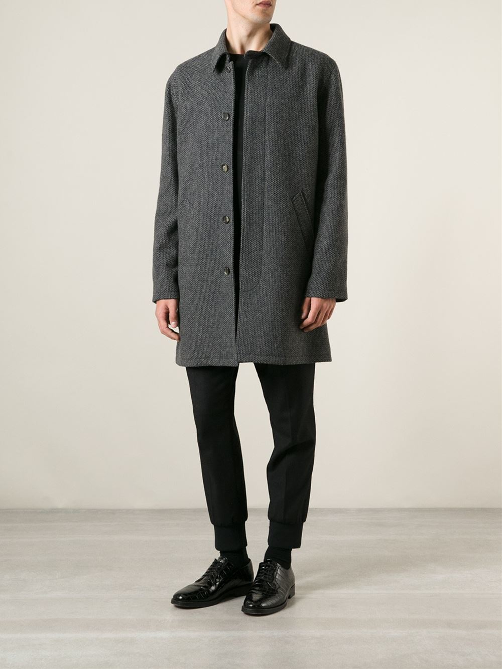 A.p.c. Wool Blend Mac in Gray for Men | Lyst