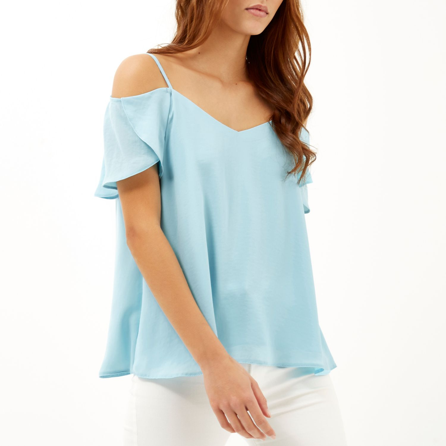 c17b06f0b17 River Island Light Blue Cold Shoulder Frilly Sleeve Top in Blue - Lyst