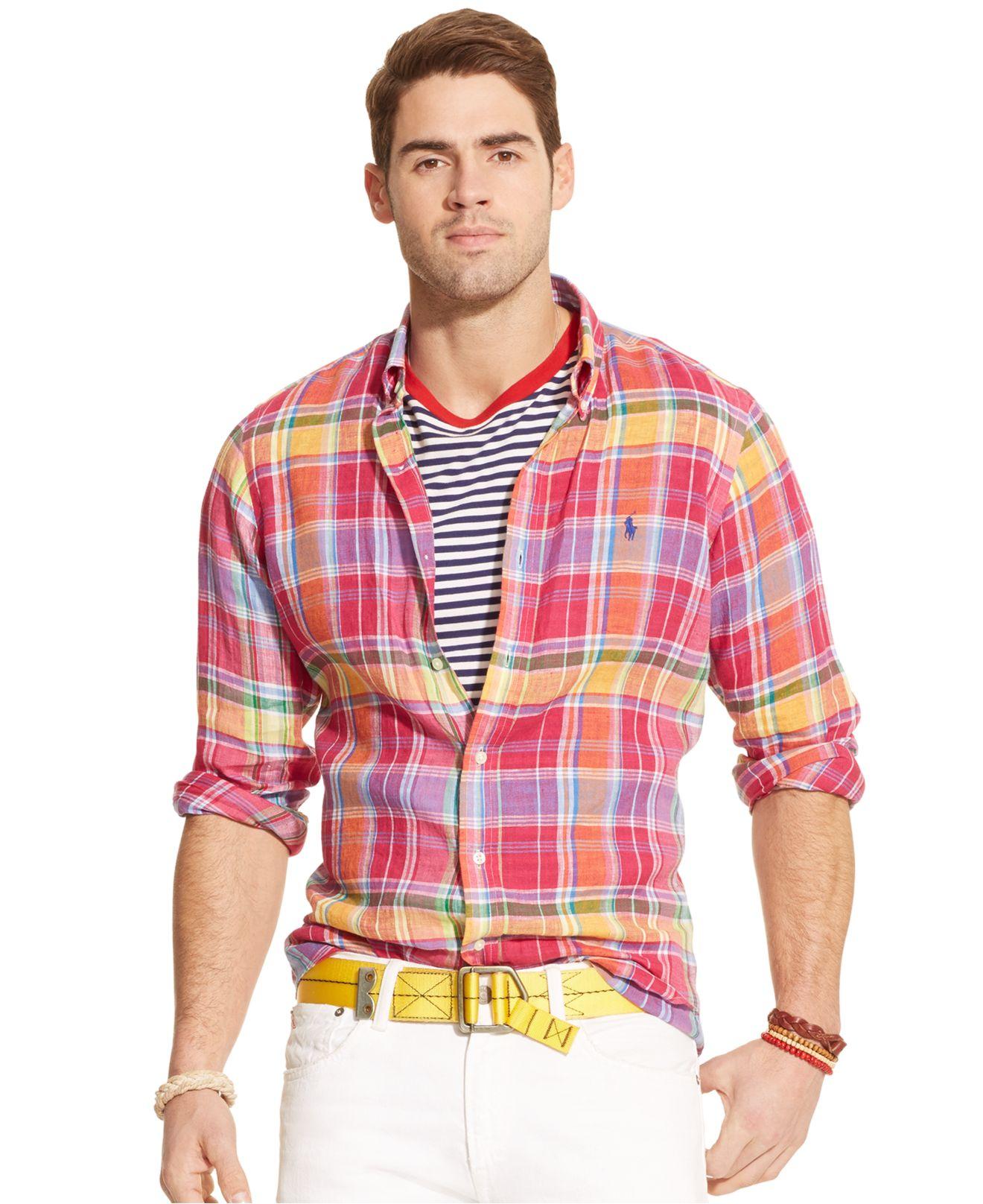 Red Ralph For Plaid Lauren Polo Linen Men Shirt vm80NnOw