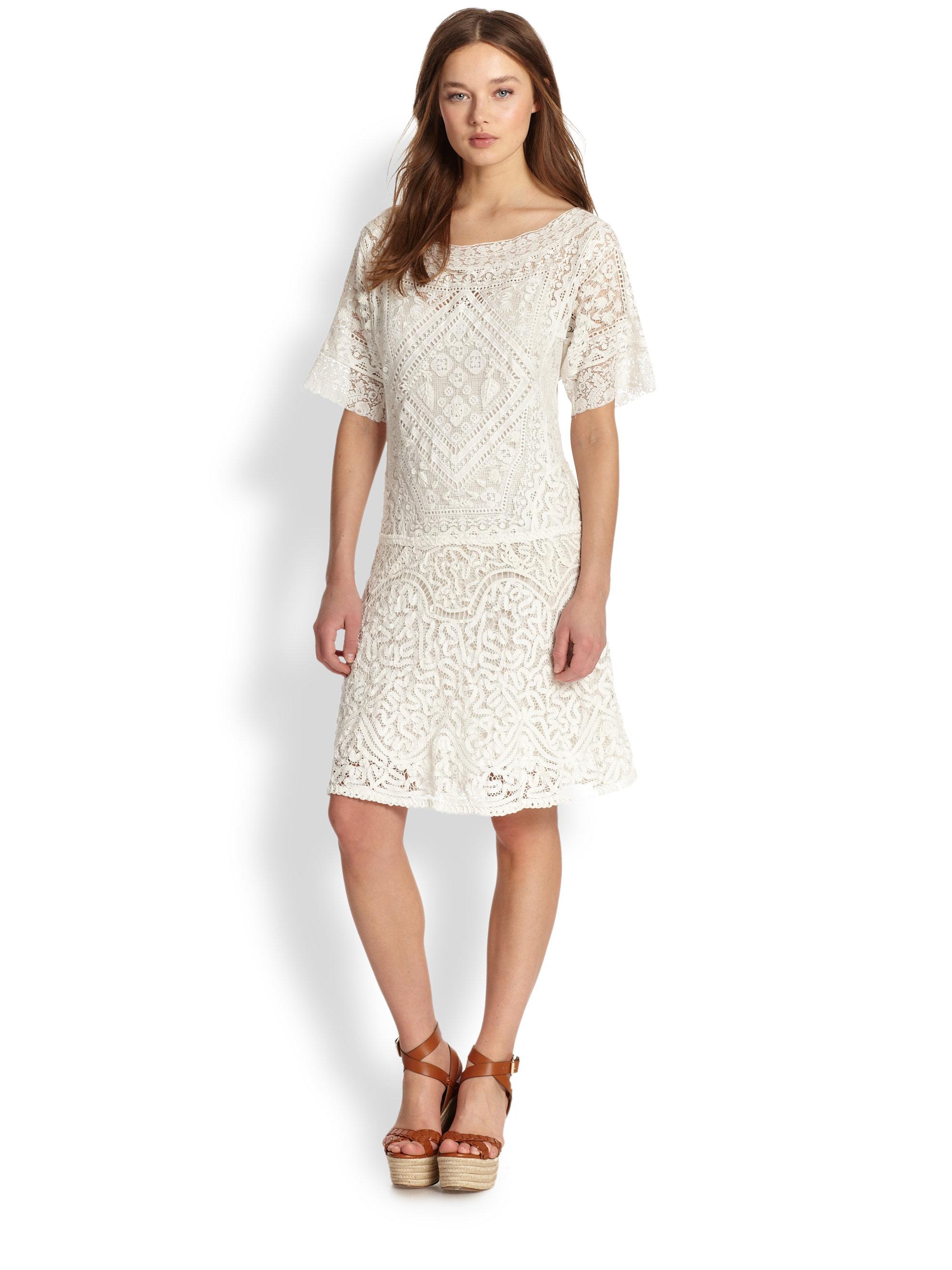 993b28afbcf8 Ralph Lauren Blue Label Tatiana Lace Dress in White - Lyst