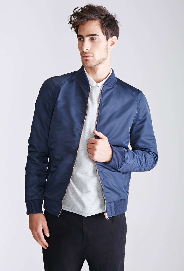 Forever 21 Nylon Raglan Bomber Jacket in Blue for Men | Lyst