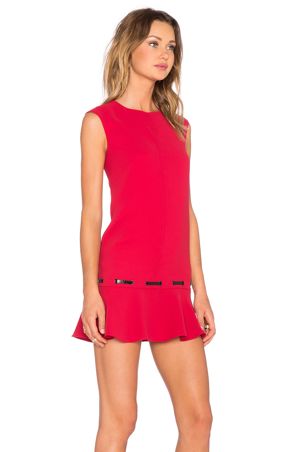 The Kooples Low Waist Dress In Crepe And Vinyl In Red Lyst