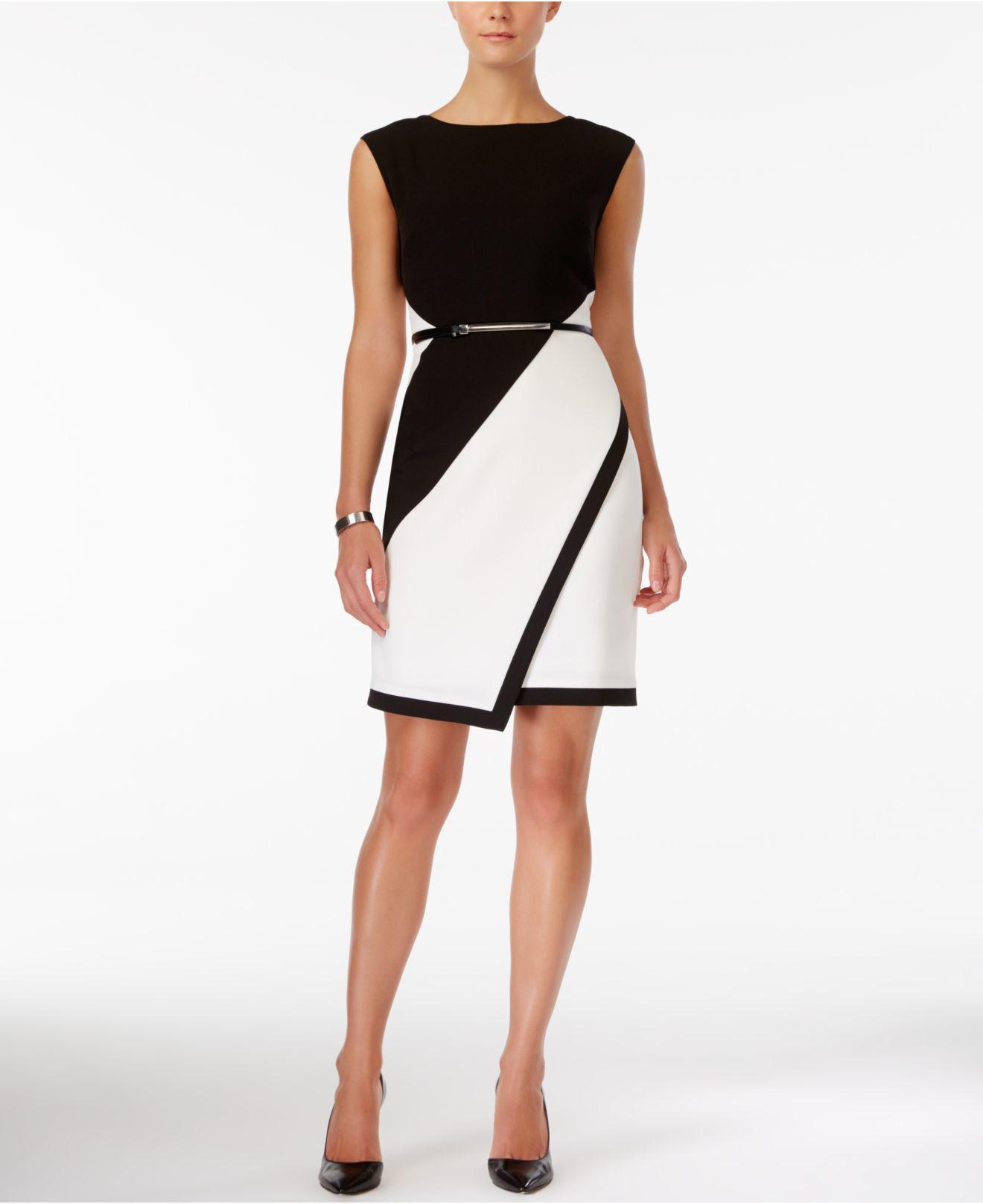 Sandra Darren Colorblocked Belted Sheath Dress In Black Lyst