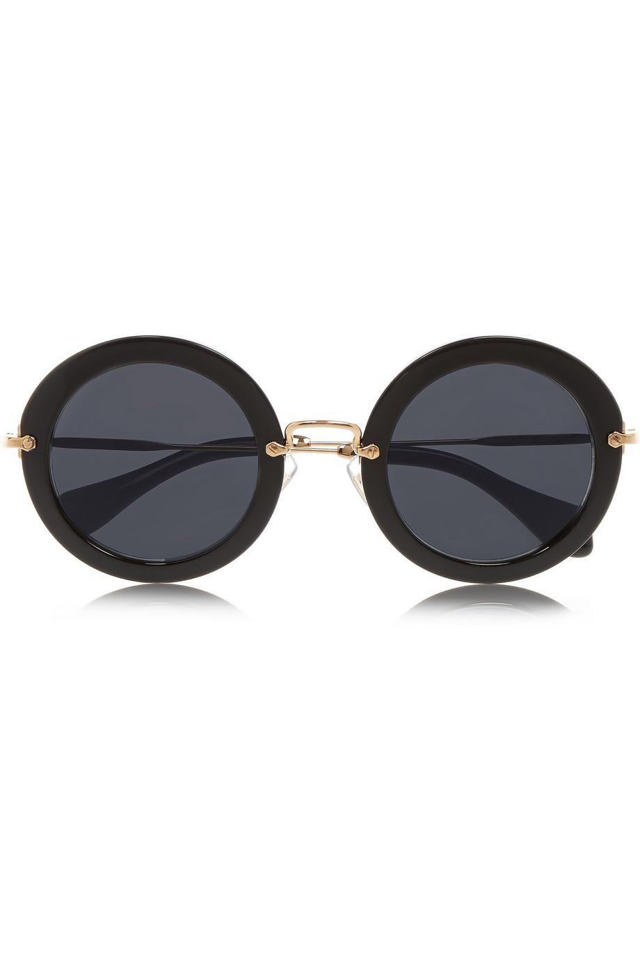 Miu Miu Round Frame Acetate Sunglasses In Black Lyst