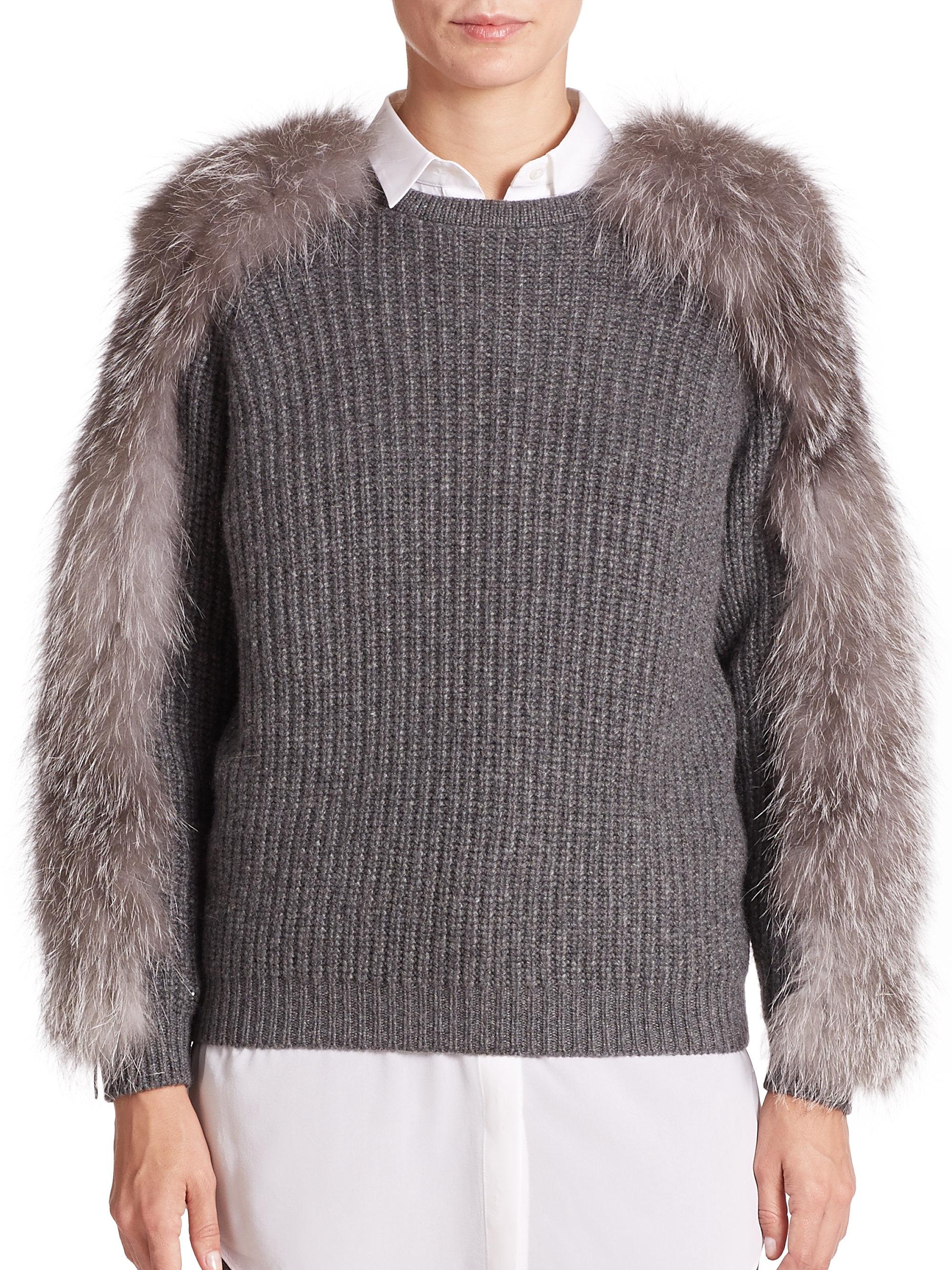 Brunello cucinelli Fur-trim Cashmere Sweater in Gray | Lyst