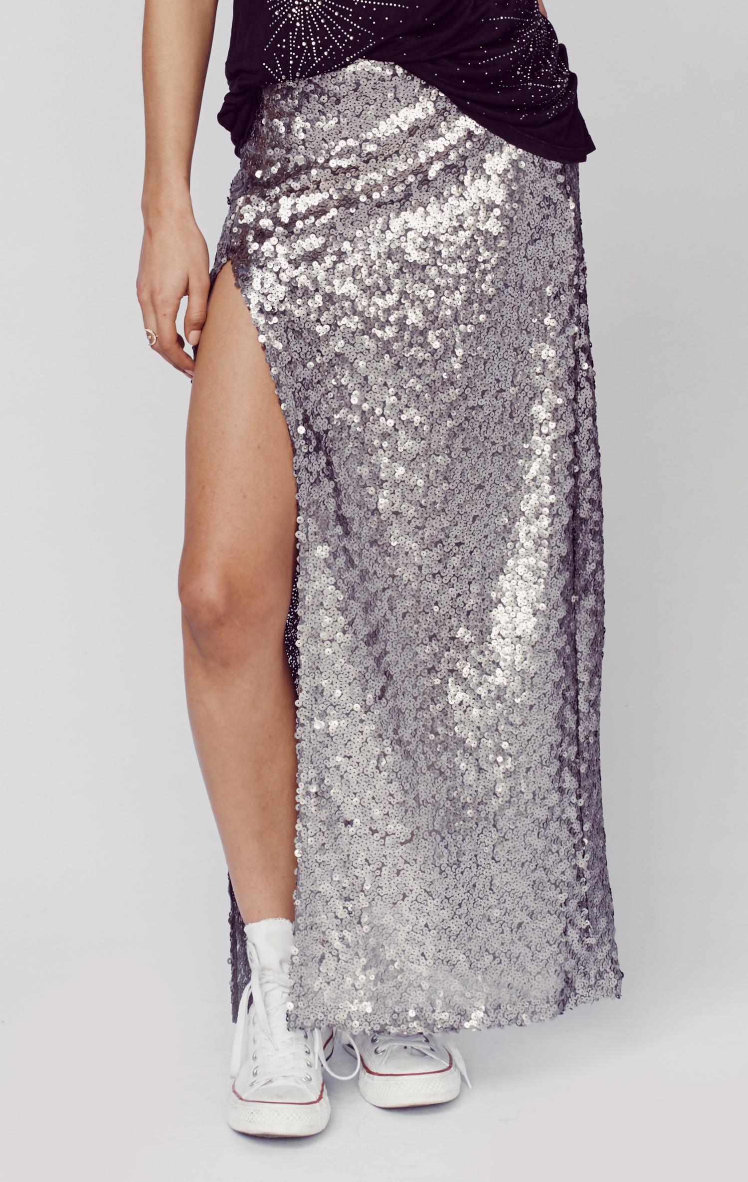 blue sequin slit skirt in silver silv lyst