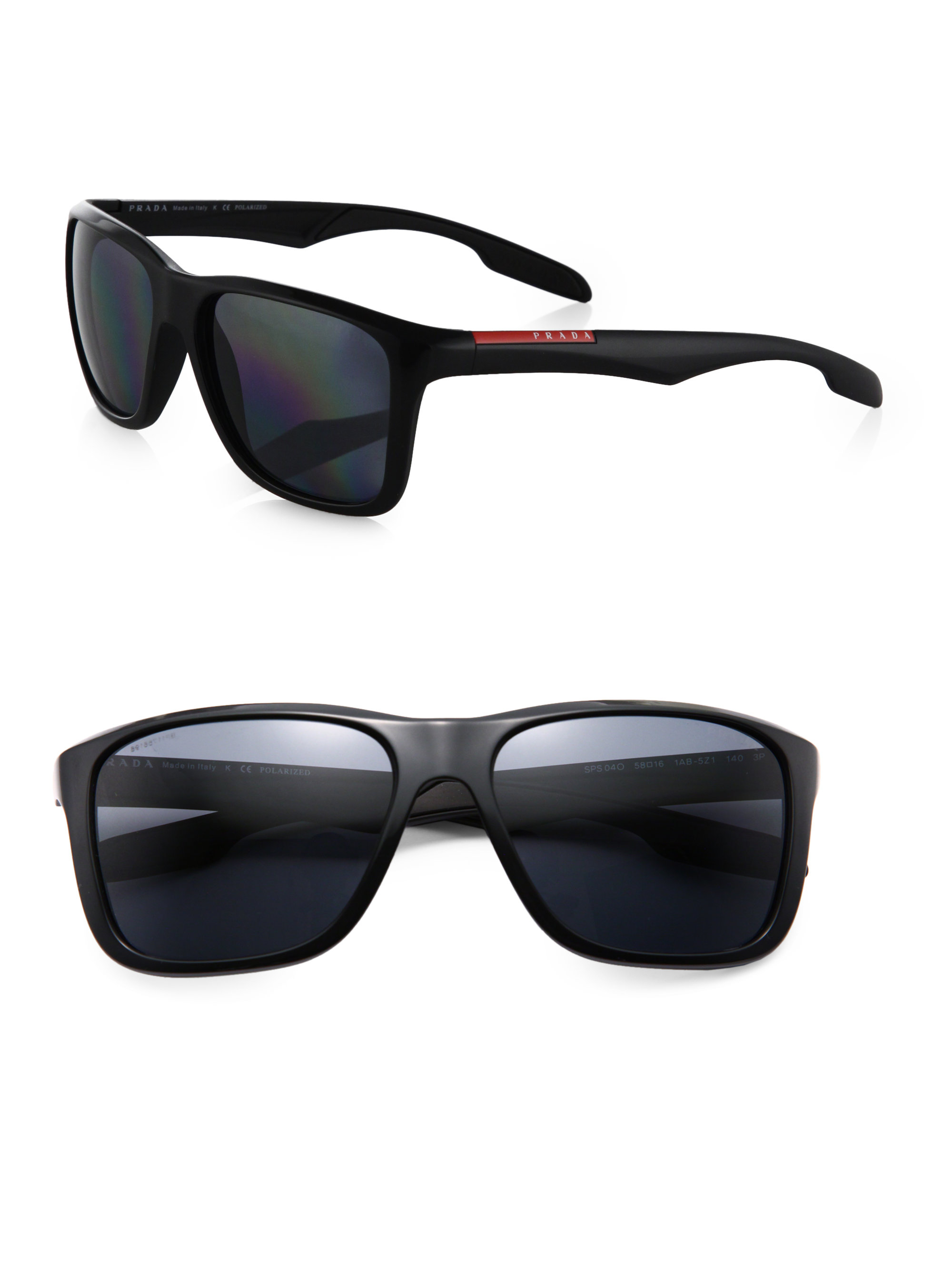 Prada Square Aviator Sunglasses in Black for Men | Lyst