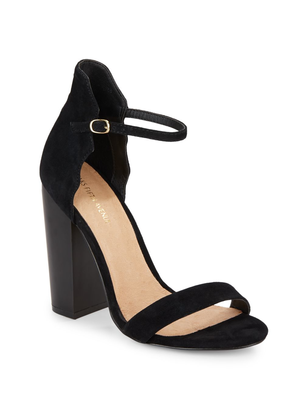 saks fifth avenue suede sandals in black lyst