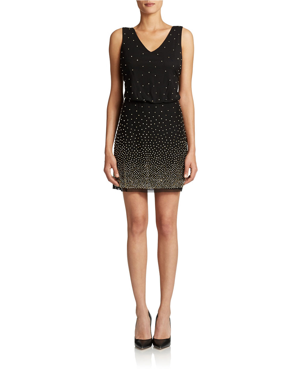 xscape beaded cocktail dress in black lyst