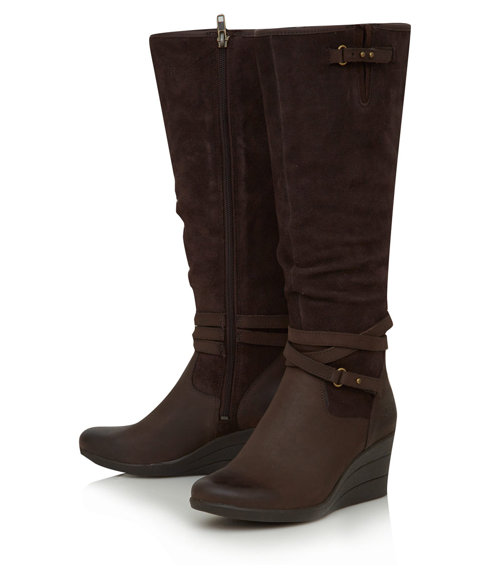 Ugg Brown Leather Lesley Knee High Wedge Boots Lyst