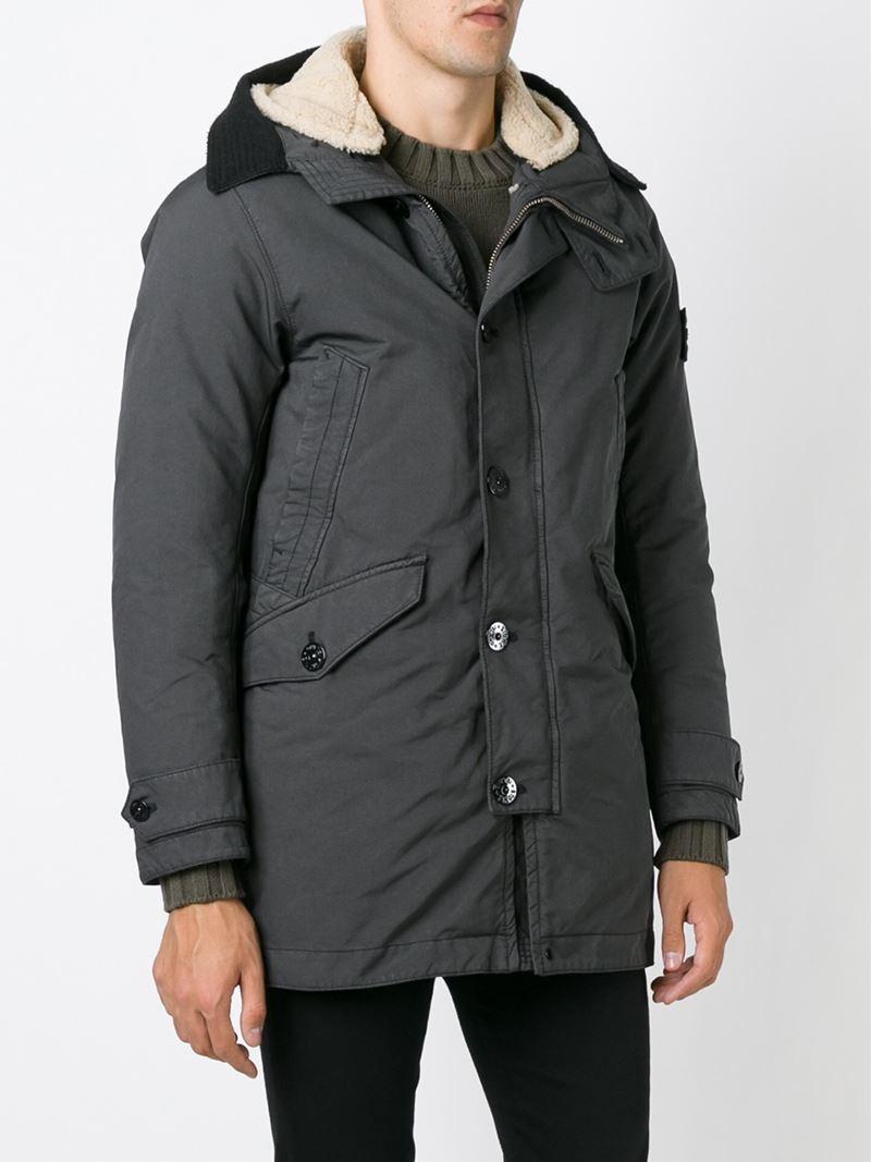 lyst stone island hooded parka coat in gray for men. Black Bedroom Furniture Sets. Home Design Ideas