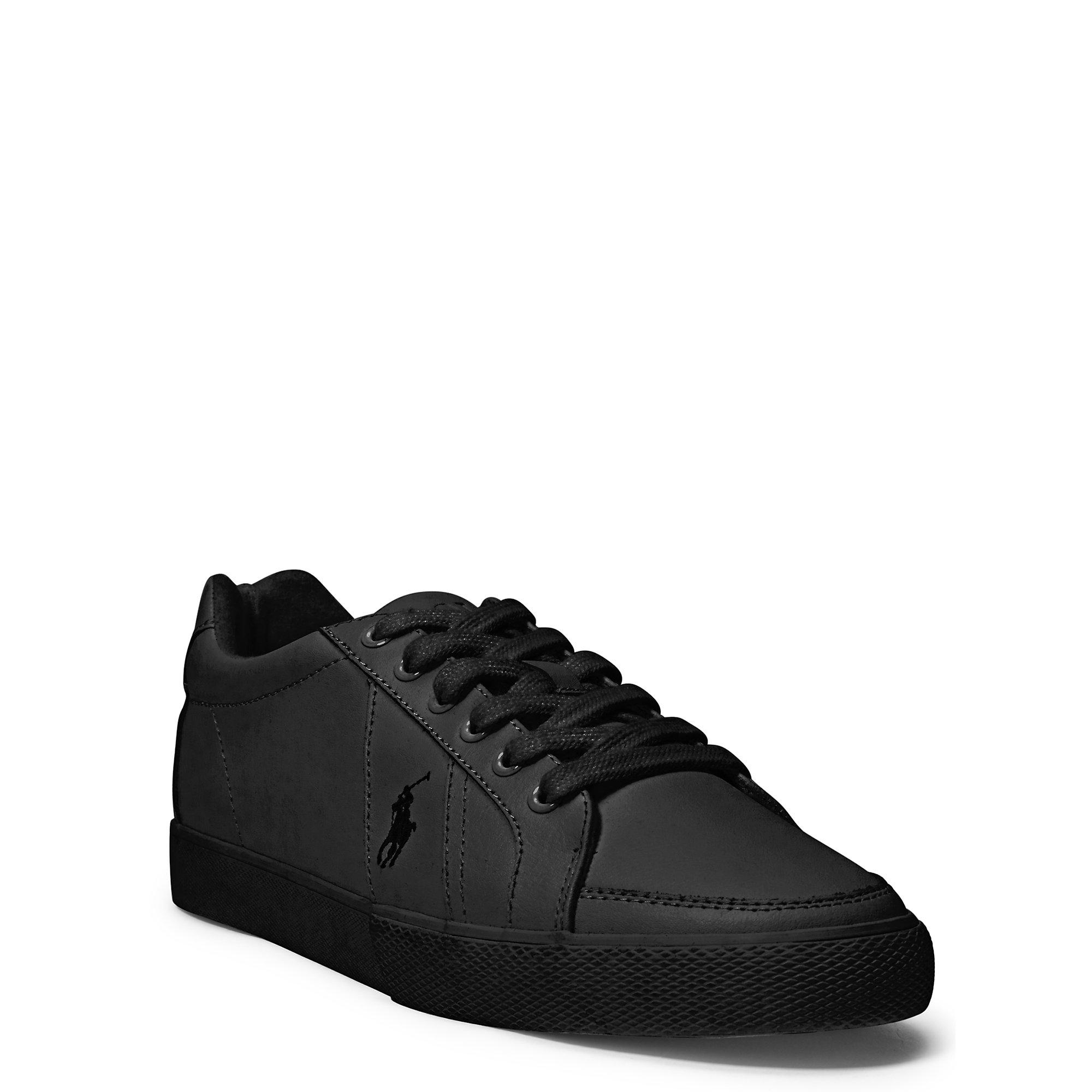 Polo For Lauren Ralph Leather Men Hugh Black Sneaker 3JlFK1cT
