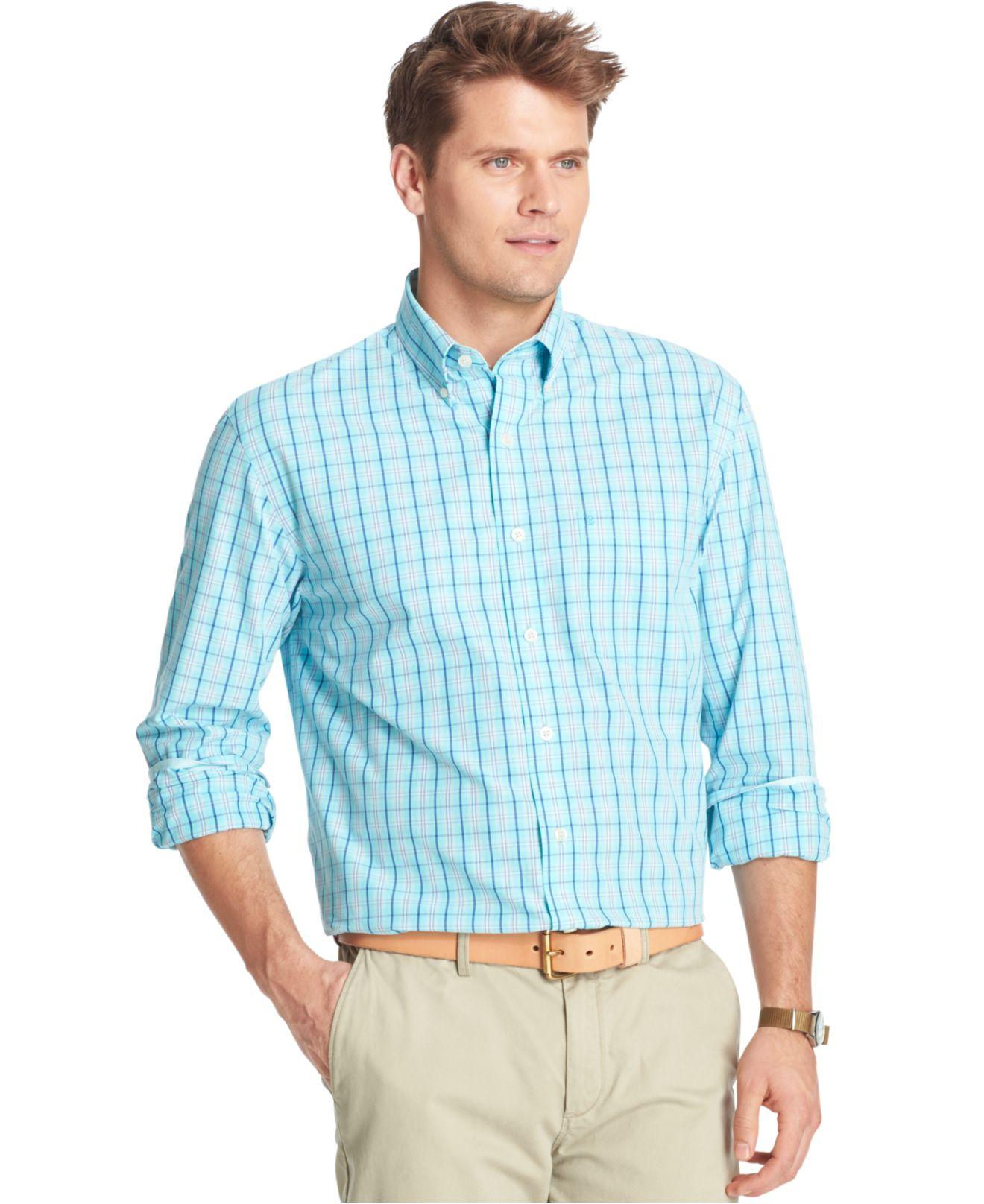 Izod big and tall essential plaid shirt in blue for men lyst for Izod big and tall shirts