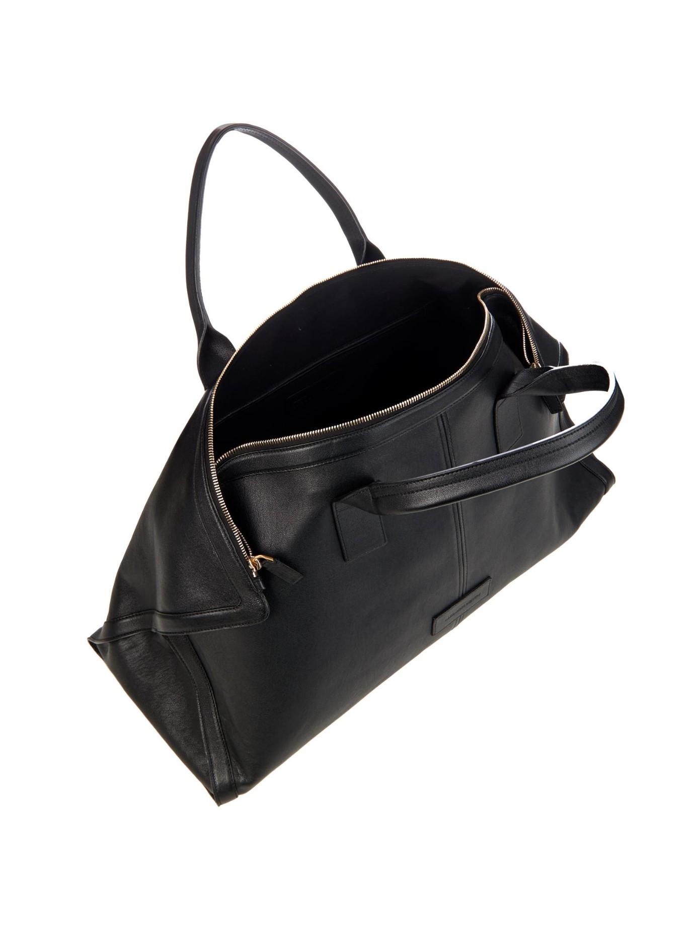 Alexander mcqueen De Manta Leather Weekend Bag in Black for Men | Lyst
