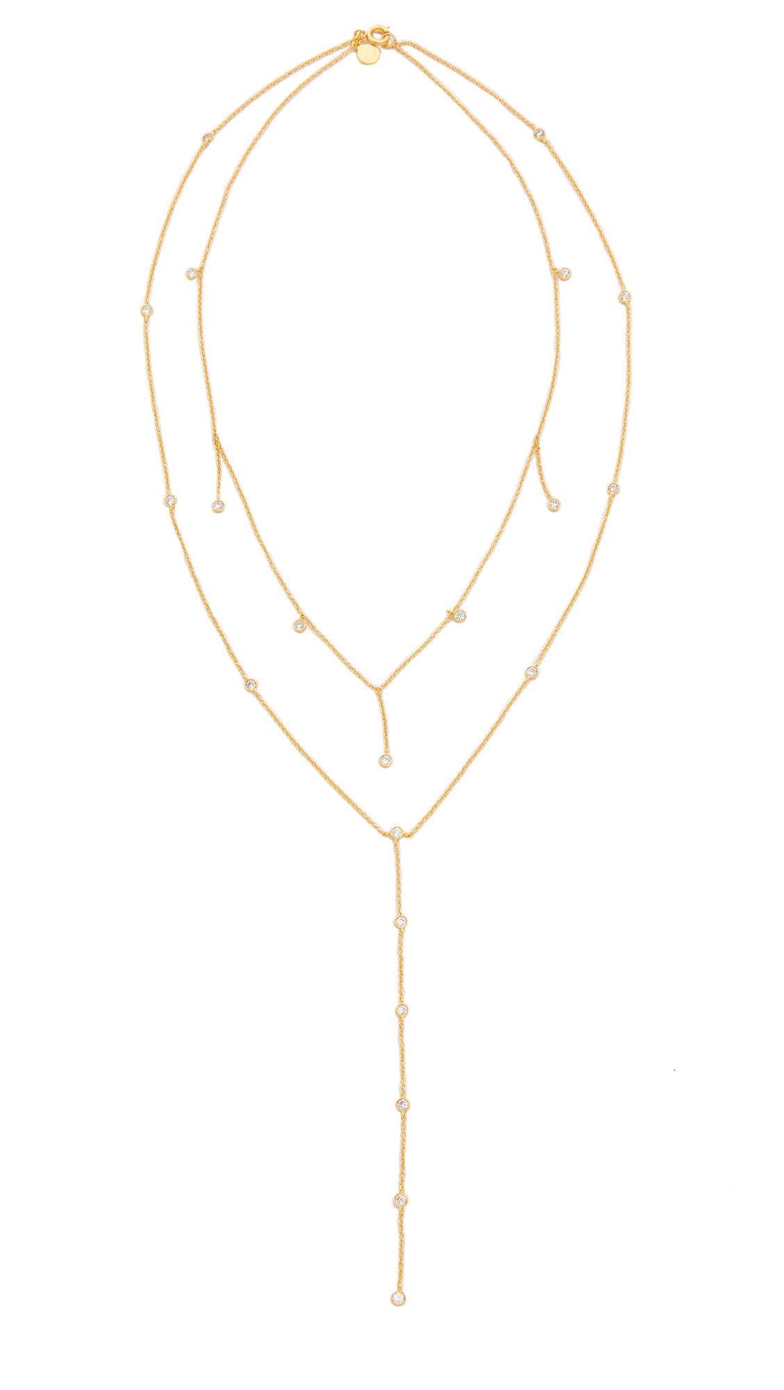 Gorjana Candice Shimmer Layered Lariat Necklace in Gold (Metallic)