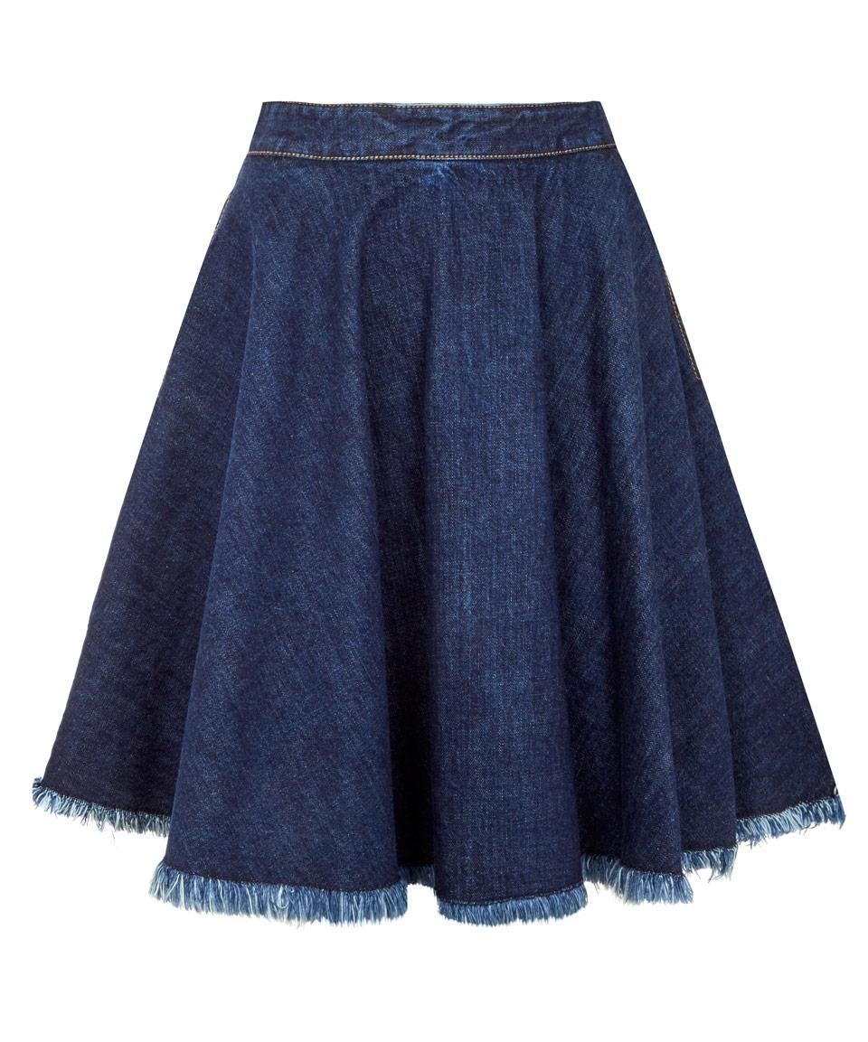 msgm navy fray denim circle skirt in blue lyst