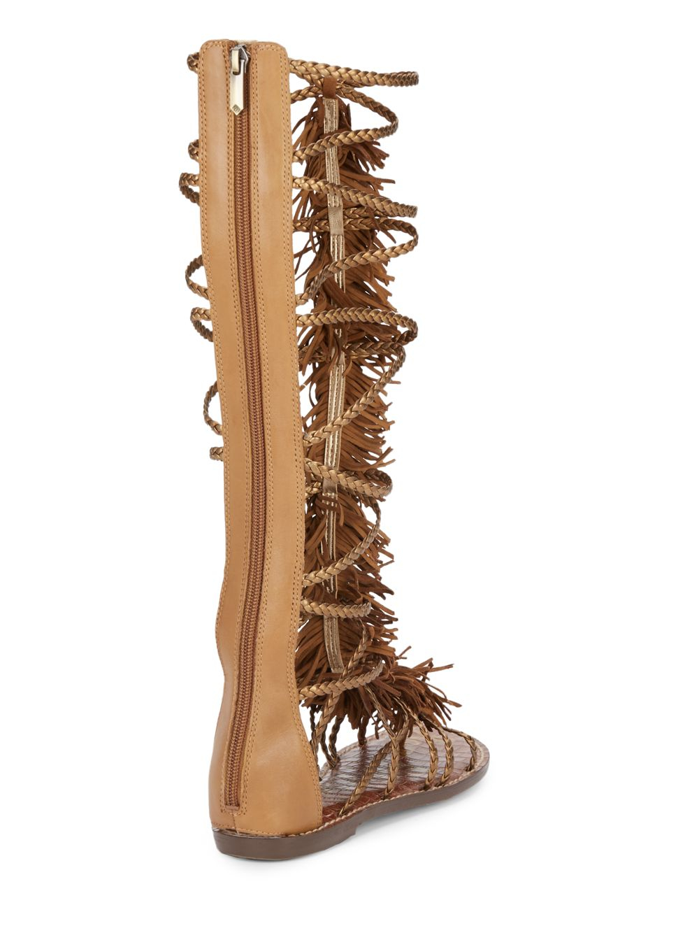 5401279a2d79f Sam Edelman Gia Fringed Knee-high Metallic Leather Gladiator Sandals ...