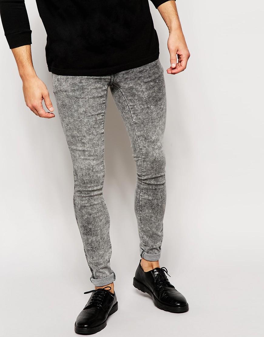 Dr. denim Jeans Kissy Low Spray On Extreme Super Skinny Gray Acid ...