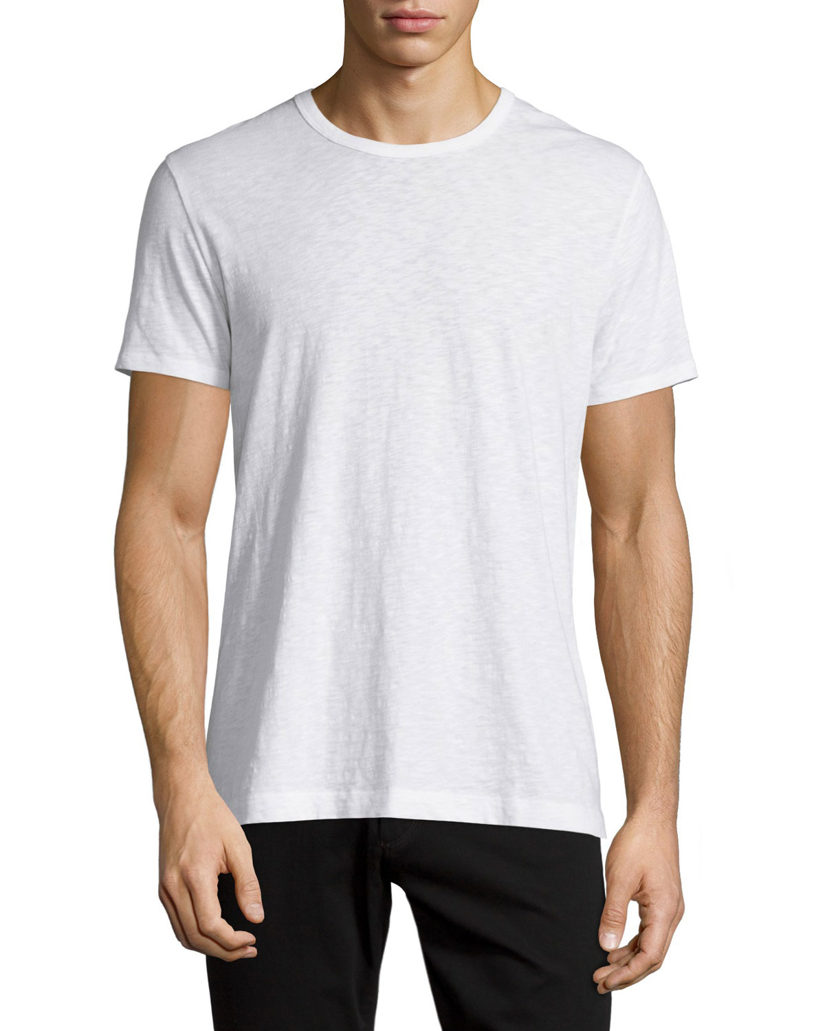 Vince slub jersey crewneck t shirt in white for men lyst for Vince tee shirts sale