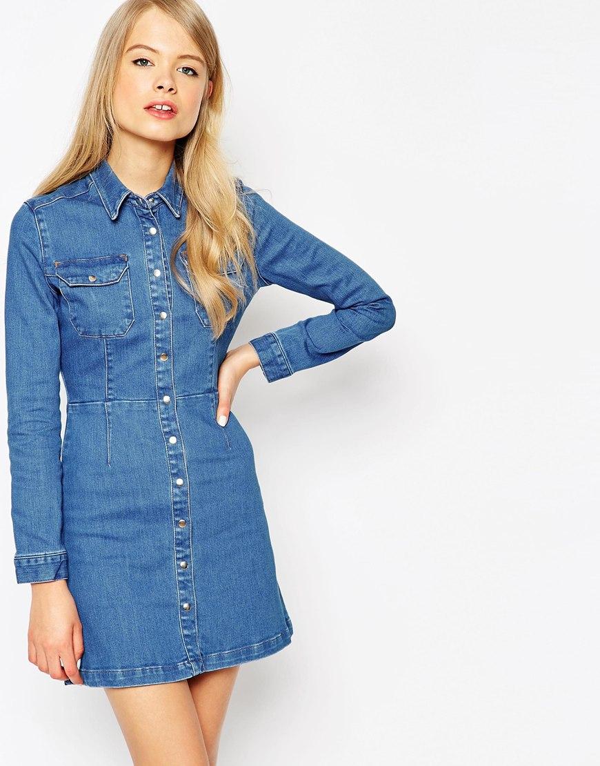 Asos Denim Western A Line Shirt Dress In Blue Lyst