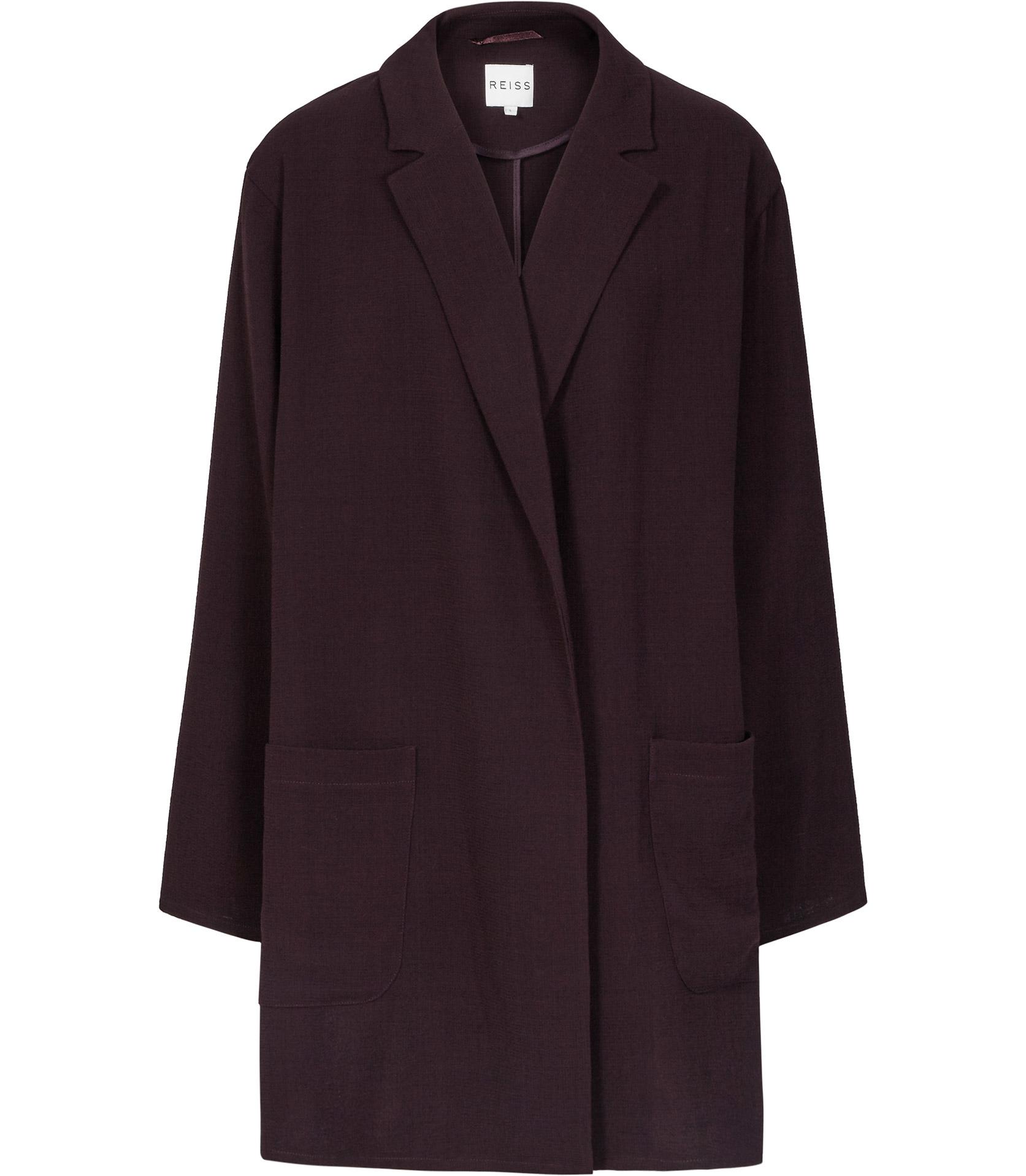 Lyst Reiss Gia Relaxed Longline Jacket In Purple