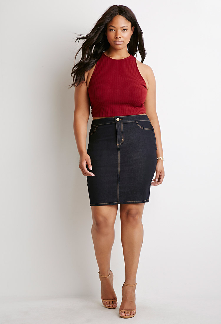 forever 21 plus size denim pencil skirt in blue | lyst