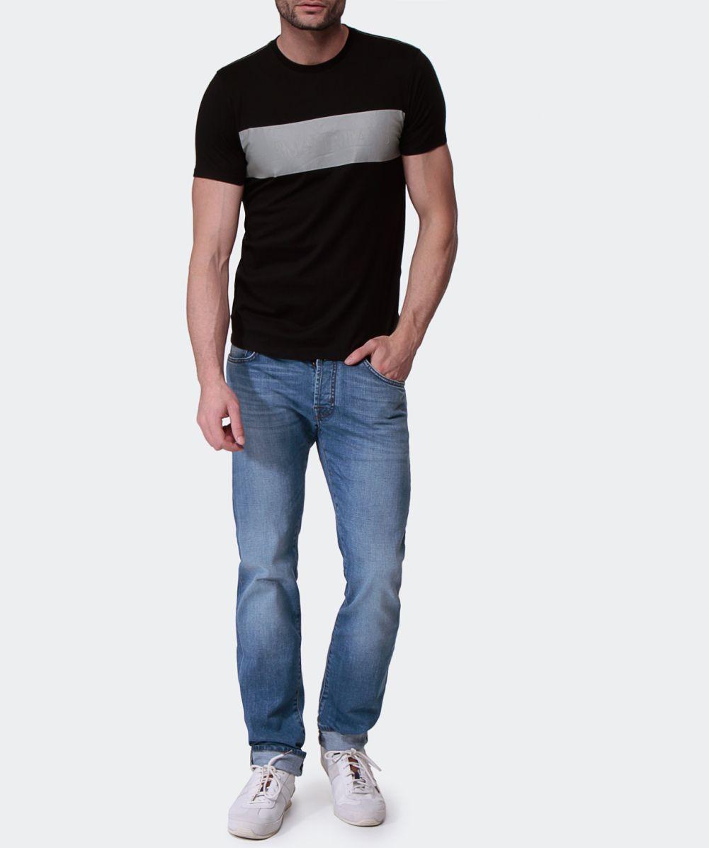 armani jeans panel t shirt in black for men lyst. Black Bedroom Furniture Sets. Home Design Ideas