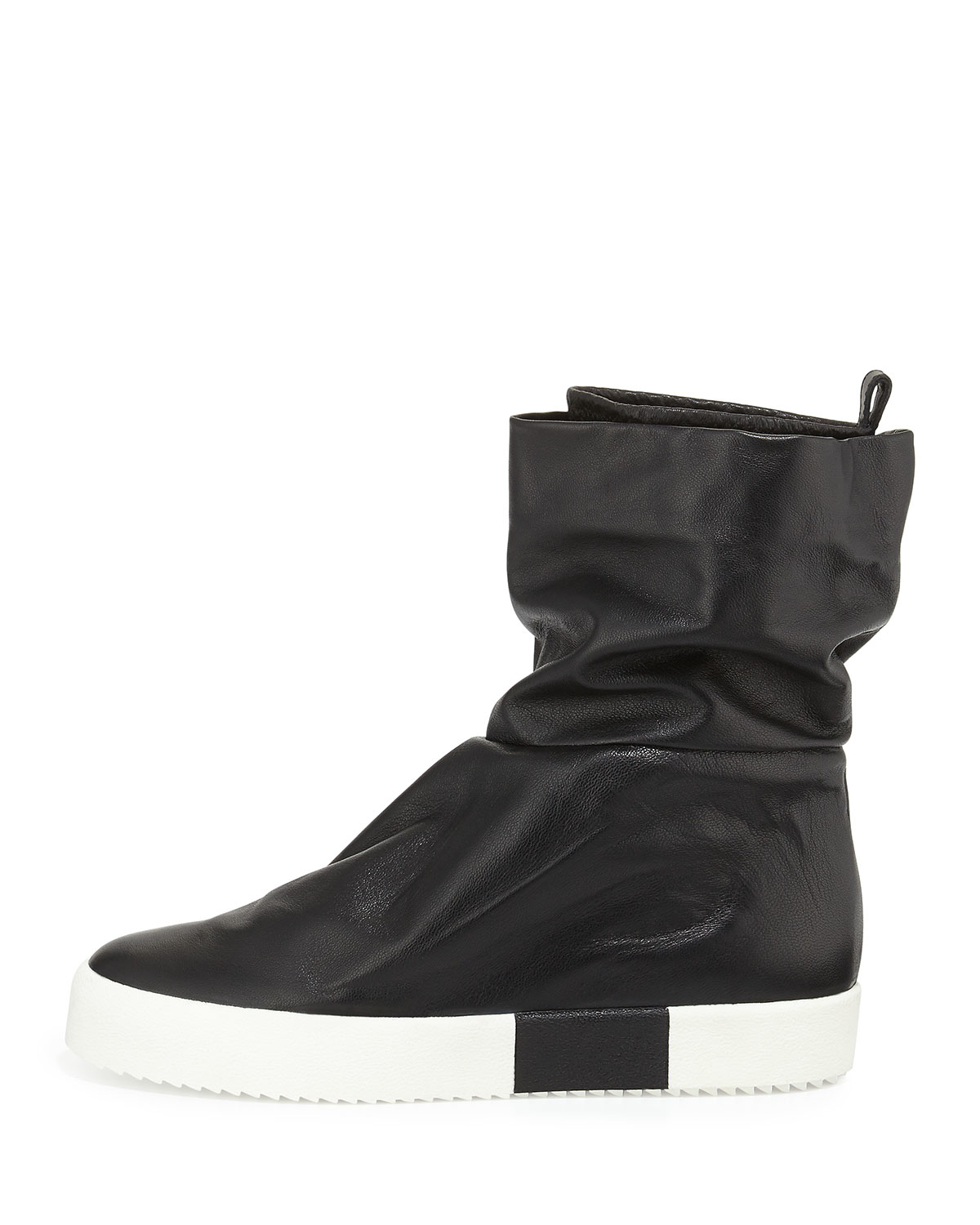 giuseppe zanotti leather slouch collar boot in black for