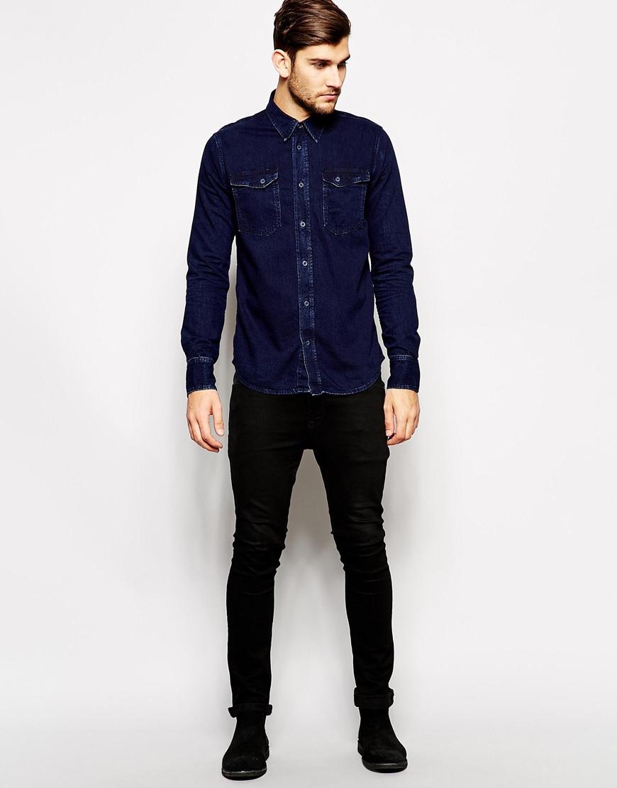 7ba10296442 Lyst - Nudie Jeans Nudie Denim Shirt Gunnar Deep Dark Rain Wash in ...