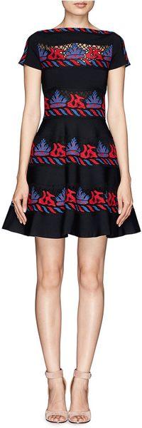 Valentino Tribal Stripe Lace Appliqu 233 Knit Dress In