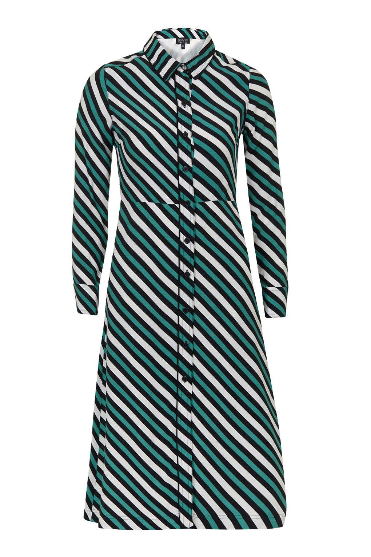 topshop stripe shirt dress in green lyst