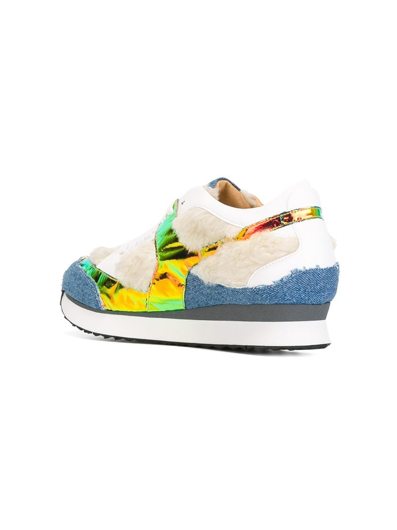 MM6 by Maison Martin Margiela Faux-Fur and Denim Low-Top Sneakers