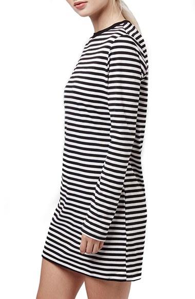 Topshop Stripe Long Sleeve Tunic Dress in Gray - Lyst