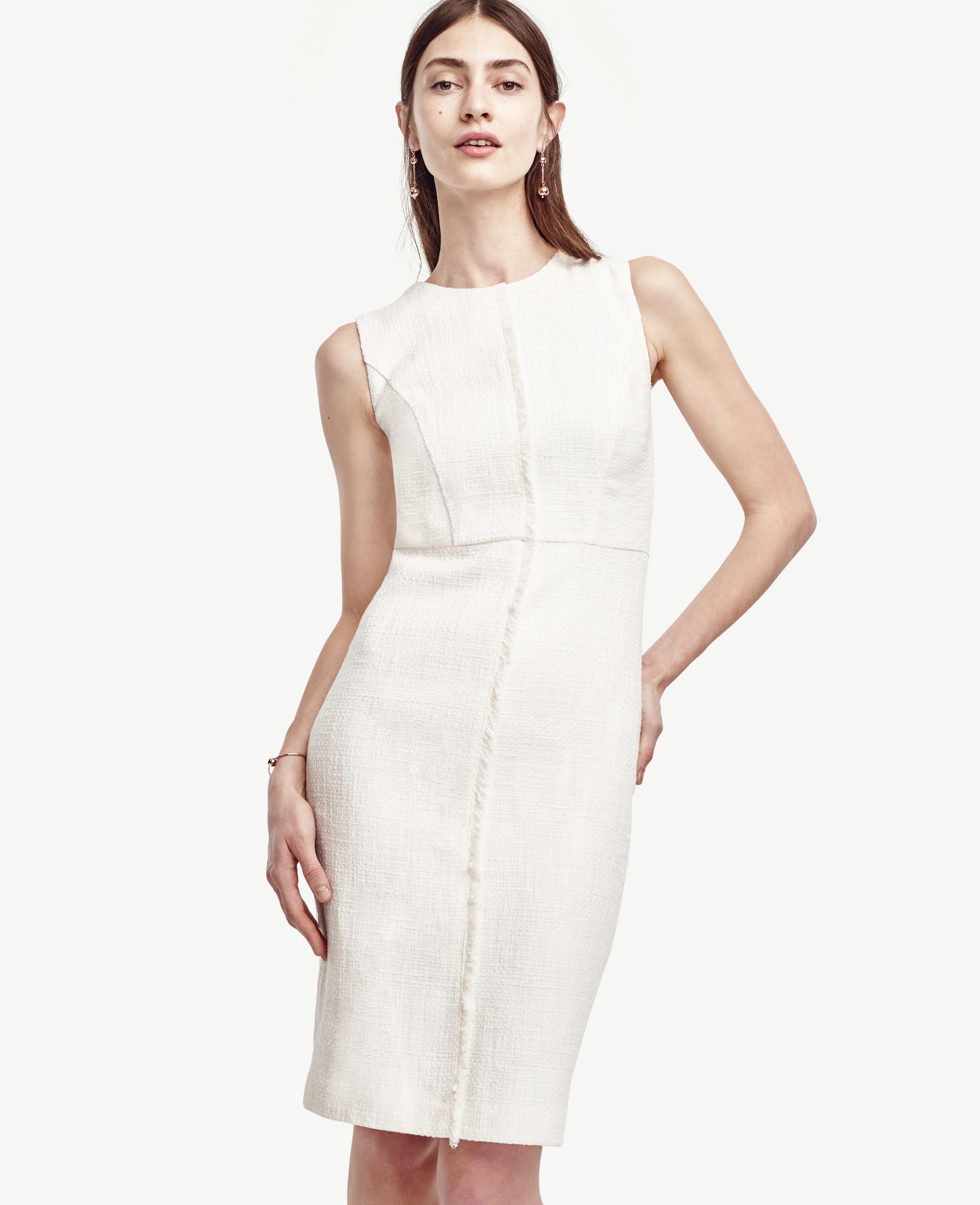 681a3866ac Ann Taylor Petite Tweed Fringe Sheath Dress in White - Lyst