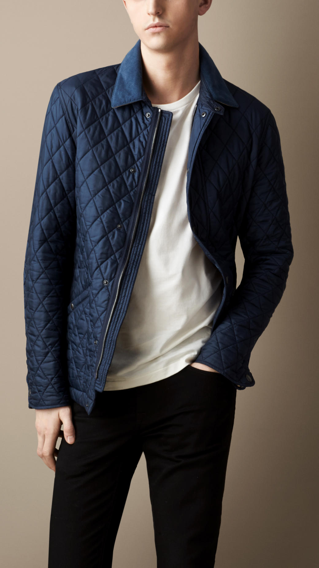 Lyst Burberry Diamond Quilted Jacket In Blue For Men