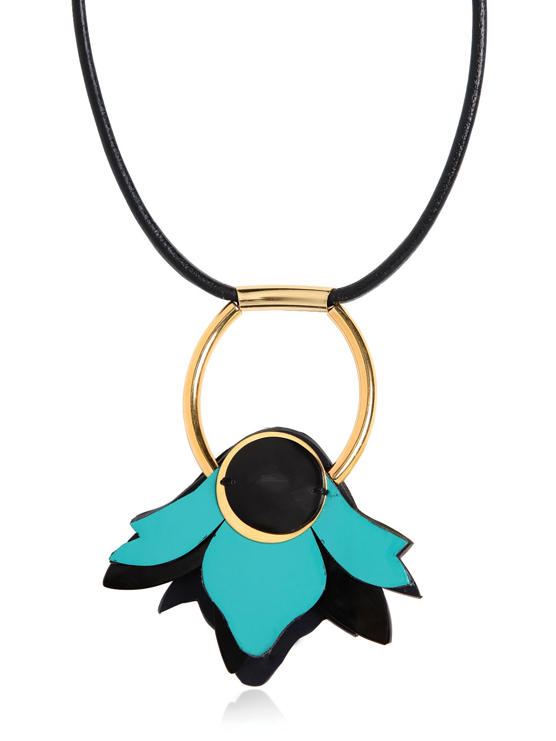 Marni Leather Flower Pendant Necklace in Turquoise (Blue)